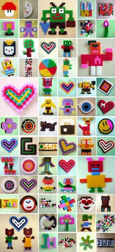 Hama/Perler beads or cross stitch design ideas, for jewelry, charms, coasters, cards...back with fabric if necessary