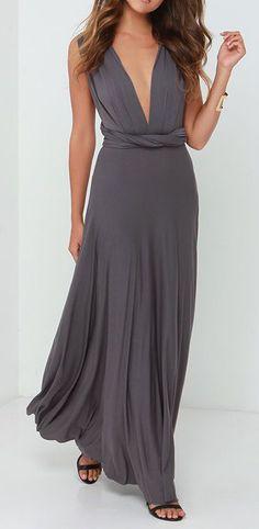LULUS Exclusive Tricks of the Trade Dark Grey Maxi Dress