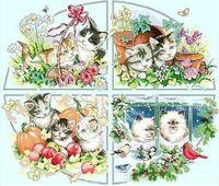 Высокое качество счетный крест комплекты бесплатная доставка четыре сезона кошки цветок животных