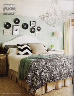 The bedroom color palette is so serene. I love the neutral browns mixed with the soft mint! Plus the chevron throw pillows are to die for!