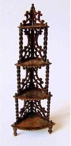 1:12th scale miniature fretwork corner shelf  by artisan Chris Malcomson