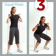 Squat Press- Get toned and burn fat in a resistance tubing workout. Resistance Tube Workout, Resistance Band Training, Circuit Training, Resistance Bands, Boot Camp, Workout Humor, Gym Workouts, Zumba, Hiit