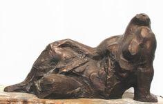Lying, bronze sculpture by Jaroslav Jurčák   Czech contemporary artist.