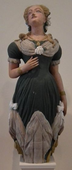 Canadian carver Marie, Figurehead 1875 Painted wood H: 84 in, W: 25 in, D: 26 in East India Marine Hall, Peabody Essex Museum