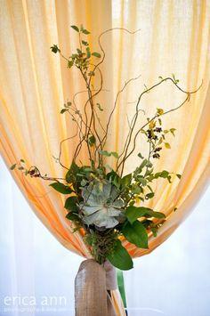 succulent and floral curtain tie backs Couture Portland wedding flowers,rentals, coordination. | Geranium Lake Flowers