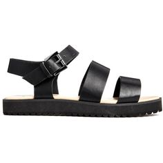 New Look Flux Black Cleated Sole Flat Sandals (655 UAH) ❤ liked on Polyvore featuring shoes, sandals, black, flat shoes, black sandals, flat sandals, faux leather shoes and vegan footwear