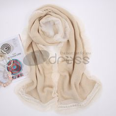 Ladies Long solid color lace wool warm scarf