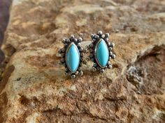 Elegant Blue Silver Diamond Flower Earrings With Turquoise & Oxidized Setting,Turquoise Earring,Pierced Earring,Women Earring,Gifts For Her by Supsilver on Etsy