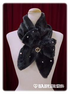 Ribbon and pearl of fur scarf / Ribbon and pearl fur muffler   BABY, THE STARS SHINE BRIGHT