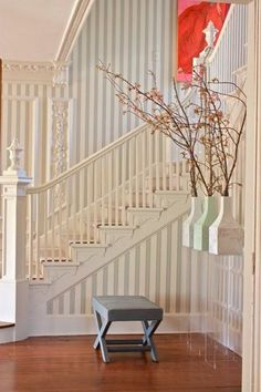 Before & Afters from DC Design Pros Stenciled Floor, Beach House Decor, Home Decor, House Stairs, House Made, Cool Walls, Pattern Wallpaper, Apartment Therapy, Entrance