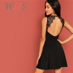 Shop & Buy Sexy Black Lace Insert Open Back Skater Fit and Flare High Waist Sleeveless Fitted Mini Dress Women Summer Solid Dresses Online from Aalamey Open Back Dresses, Short Dresses, Sleeveless Dresses, Vestido Casual, Summer Dresses For Women, Ladies Dresses, Lace Insert, Dress Backs, Fit And Flare