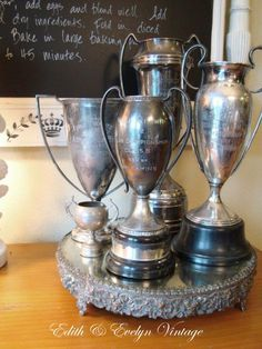 Vintage Championship Trophy Cup Silverplate by edithandevelyn on Etsy