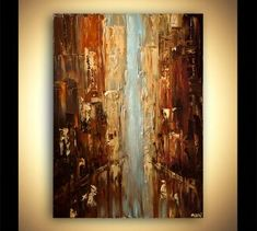 Cityscape Painting Original Abstract Acrylic Painting on Abstract City, Abstract Canvas, Acrylic Painting Canvas, Canvas Art, Acrylic Art, Knife Painting, Blue Abstract, Paintings For Sale, Original Paintings