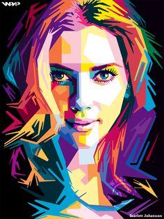 Scarlett Johansson in wpap Pop Art Illustration, Portrait Illustration, Arte Pop, Pop Art Drawing, Art Drawings, Abstract Portrait, Portrait Art, Portraits Pop Art, Portrait Vector
