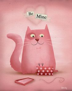 Happy Valentine's Day!  Be Mine Illustration by Eric Barclay.  #valentine #kitty #cats