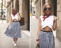My Showroom Priscila - Stradivarius Skirt, Victoria Shoes, Hermës Bracelet, Zara Top, Mykita Sunnies - Vichy Skirt