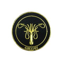 Game of Thrones Patch Greyjoy Patch Embroidered Movie Iron On Sew On Patches meet you on www.Fleckenworld.com