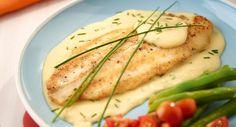 Filete de pescado blanco con crema de plátanos, Receta de Filete de pescado blanco con crema de plátanos