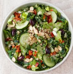 Kale, romaine, cucumbers, tomato sofrito, kalamata olives, quinoa and toasted almonds tossed with Greek dressing. Available in whole and half. (Nutritional values below are based on whole serving. For detailed nutrition facts on all items based on serving size, please download our <a href=