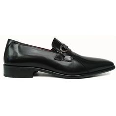 Zapato mocasín en piel florentic negro de Raimondo Maciotto con bocado en pala vista lateral