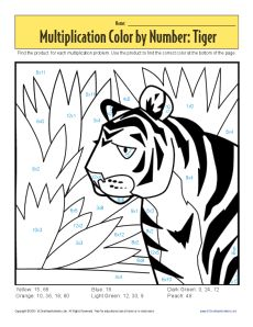 Subtraction Color By Number Tiger