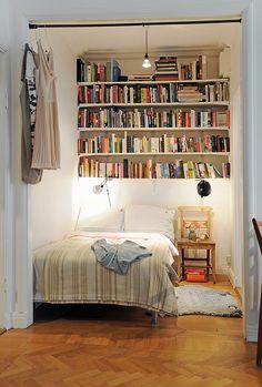 But i love books! bedroom nook, home bedroom, bedroom bookcase, bed nook Bed Nook, Bedroom Nook, Bedroom Decor, Bedroom Ideas, Library Bedroom, Master Bedroom, Closet Library, Student Bedroom, Narrow Bedroom