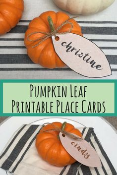 Happy Thanksgiving! These pumpkin leaf place card name tags make for a beautifully decorated thanksgiving table! Also, a perfect table placing for a fall wedding, dinner party or shower! Pumpkin Leaf Printable Place Card Tags - Thanksgiving Table - Fall Table Decor - Fall Wedding - Fall Shower - Printable PDF File - farmhouse style - fixer upper - farmhouse wedding - fall wedding - fall decor - thanksgiving decor - name tags - place cards - dinner party - sponsored