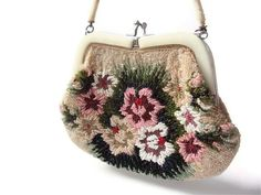 Antique Beaded Purse Beaded Flower Purse by YesterdaysSilhouette, $88.00
