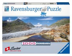 Mountain landscape in this 1000 piece jigsaw puzzle, part if the Swiss Collection from Ravensburger. Measures 15 x 38.75 when complete. Released May 2013. Part of our Exclusive European Puzzles from Ravensburger... only available through Puzzle Warehouse for a limited time, while supplies last.
