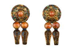 Paire de boucles d'oreille circulaire composite, tombe de Toutankhamon (origine) - cornaline, pâte de verre, turquoise
