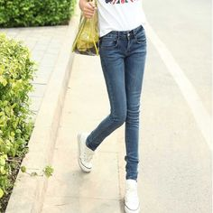 Fashion Sexy Pencil Pants Slim Fit Spring Jeans Woman Skinny Trousers Lady 26-32 Jeans Plus Size