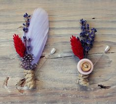 lavender and red feather boutonniere  set of by TheSunflowerStand, $28.00    these are lovely.