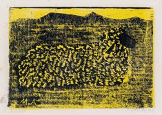 Lamb. Milton Avery. 1954. color woodcut printed in yellow and black on Japan paper, 24.8 x 35.6 mm (9 3/4x14 inches)