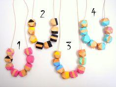 Geometric Necklace , hand painted Natural Wood Nec de LiKeGjewelry sur DaWanda.com