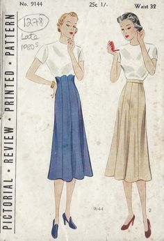 1930s Vintage Sewing Pattern WAIST:32 SKIRT (1278) by tvpstore on Etsy