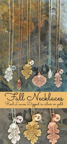Personalized Fall leaves necklaces!