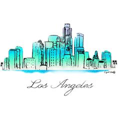 Los Angeles Watercolor Skyline LA Print, Wall Art, City Art, LA Art,... ($15) ❤ liked on Polyvore featuring home, home decor, wall art, watercolor illustration, cityscape painting, water color painting, watercolour painting and los angeles wall art