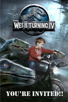I created this Jurassic World invitation for my son's dinosaur themed fourth birthday using Photoshop. My son loved seeing himself ride a motorcycle with the Jurassic World raptors.  I honestly think that this is what goes through his head every time he rides his bike.