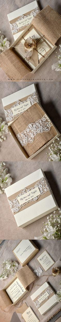 Wedding Invitation in a box - Lace, Burlap & Flower #vintagewedding #handmade #weddingideas