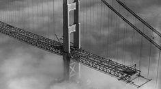 Oblique San Francisco bridge tower during construction 1933 quantum spatial historical archive