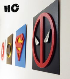 Superhero Deadpool, Wall art, Kids bedroom wall art, Superhero sign Superhero Deadpool This cool wooden wall hanging superhero is ideal for children room decor. Choose favorite superhero to your child. High quality and professional. Superhero Signs, Superhero Wall Art, Superhero Room Decor, Boys Superhero Bedroom, Decoration Bedroom, Wall Decor, Art Mural, Wall Murals, Cool Walls