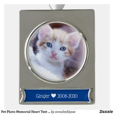 Pet Photo Memorial Heart Text Symbol Silver Plated Banner Ornament