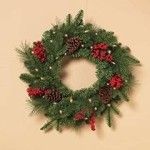 Pre-lit LED Mixed Pine Wreath with Cones and Berries. Our stunning selection of artificial wreaths and garlands allow you to enjoy all the beauty of traditional holiday foliage without the hassle of shedding needles. Check out our top 10 for 2015.