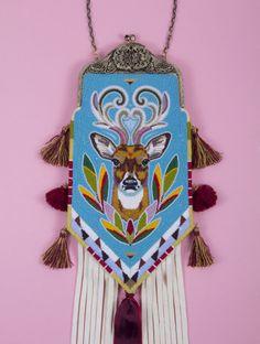 Bag depicting a white-tailed deer Sandra Okuma, Luiseño/Shoshone-Bannock, 2011 Collection of Marlane Scott.