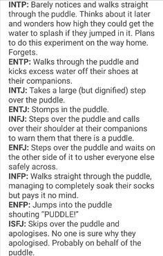 MBTI and a puddle * giggles * I could see myself and my two besties behaving exactly like this describes. ^_^