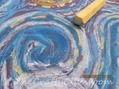 Black construction paper, chalk...& swirls Famous Artist Crafts for Kids