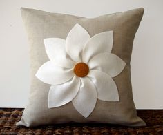 White and Rust Flower PILLOW COVER in Natural Linen by JillianReneDecor Decorative Home Decor (16x16)