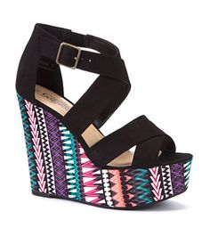 Black (Black) Black Aztec Wedge Sandals | 279781601 | New Look