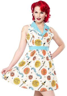 """Last Ones Sale - Was $75 now $40  Size M, L, XL DRESS - Side Show June This latest version of our popular June dress will leave you amazed! This special Sideshow print and contrasting waist and collar are accompanied by a sweet """"Alive"""" embroidery on the lapel. This dress is fully lined, has an invisible side zipper and hook and eye, and is a little stretchy to accommodate all figures."""