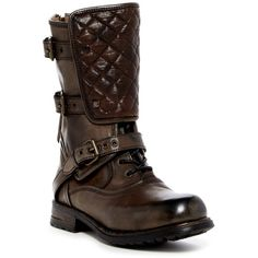 UGG Australia Savona Quilted Combat Boot ($300) ❤ liked on Polyvore featuring shoes, boots, brn, mid-calf boots, leather lace up boots, combat booties, lace up combat boots, lace up boots and mid calf leather boots